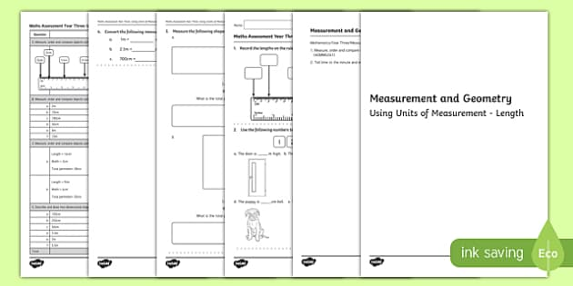 Year 3 Measurement and Geometry Units of Measurement Length Assessment - australia, year 3, measurement and geometry, measurement, geometry, units of measure, length, assessment