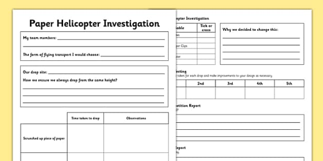 Paper Helicopter Investigation Record Sheet - Air resistance, gravity, spinner, rotor blades, flying, science, make, home education, parents