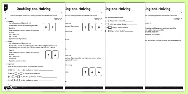 Halving and Doubling Activity Sheets - Y4 Multiplication and Division Planit Maths, multiply, groups of, lots of, product, times, sets of,
