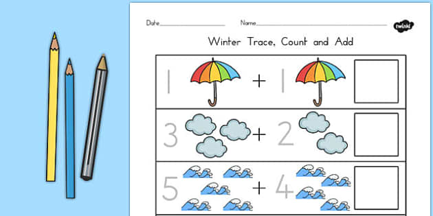 Winter Trace Count and Add Worksheet - winter, count, trace