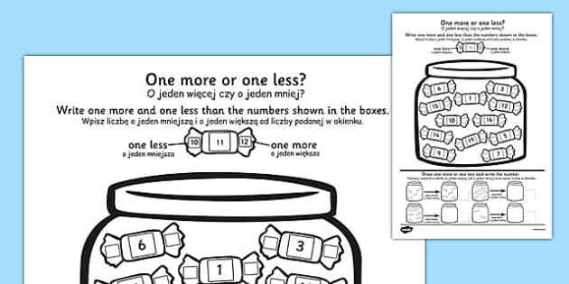 One More One Less Sweet Counting Worksheet Polish Translation
