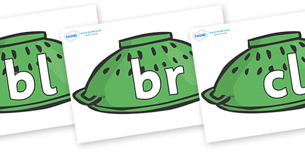 Initial Letter Blends on Colander Helmets to Support Teaching on Whatever Next! - Initial Letters, initial letter, letter blend, letter blends, consonant, consonants, digraph, trigraph, literacy, alphabet, letters, foundation stage literacy