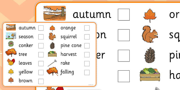 Autumn Pre-Teaching Vocabulary List - autumn, pre-teaching, vocabulary list