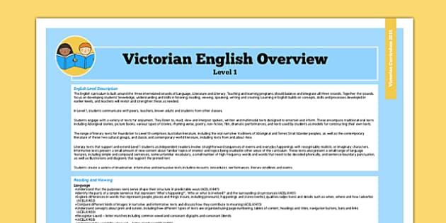 AusVELs Victorian Curriculum Level 1 English Overview - australia
