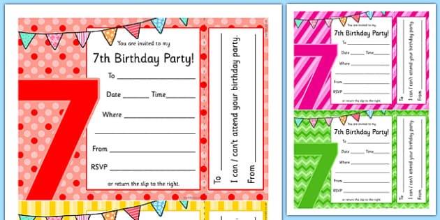 7th Birthday Party Invitations - 7th birthday party, 7th birthday, birthday party, invitations