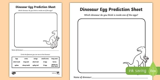 Dinosaur Egg Prediction Sheet - dinosaur, fact file, activity sheet, activity, facts, egg, prediction