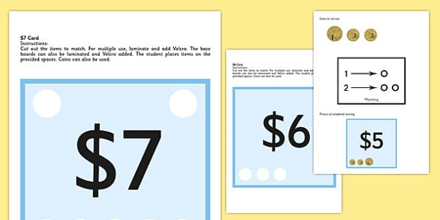 Workstation Pack 1-10 Money Matching Cards - australia, Autism, ASD, TEACCH approach, life skills, functional skills, coins