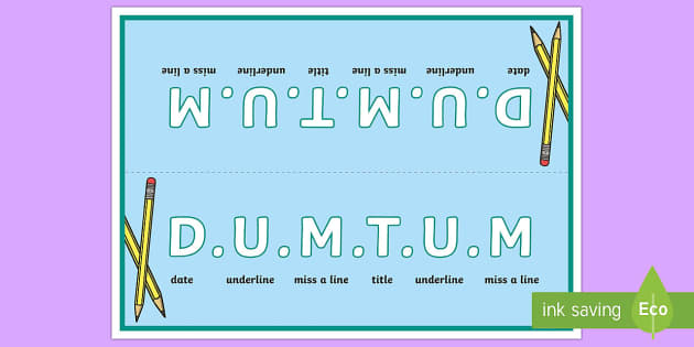 DUMTUM Table Sign - English, writing, DUMTUM, date, underline, books,