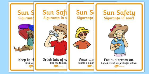 Sun Safety Posters Romanian Translation - romanian, Sun safety, Sun, Summer, sunburn, Display Words, display, summer, fun in the Sun, Sun danger, sun hat, sunglasses