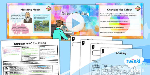 PlanIt - Computing Year 2 - Computer Art Lesson 4: Colour Coding Lesson Pack - computer art, digital art, Monet, complimentary colours, shading