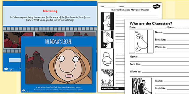 The Monks Escape Film Plot Writing and Narration Pack Activity