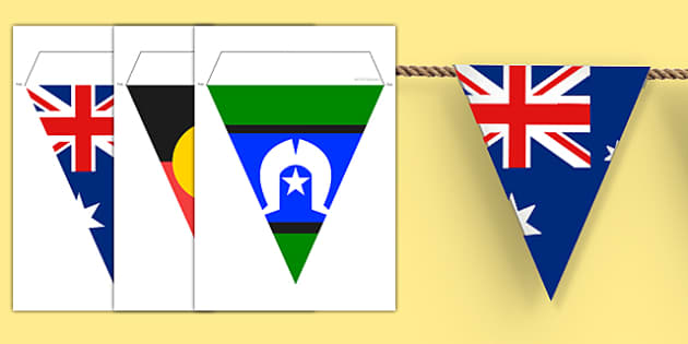 Flags of Australia Display Bunting - australian, geography, areas, different, display, colourful, classroom, visual aid, early years, ks1, key stage 1, ks2, key stage 2, regions, country, nation, people