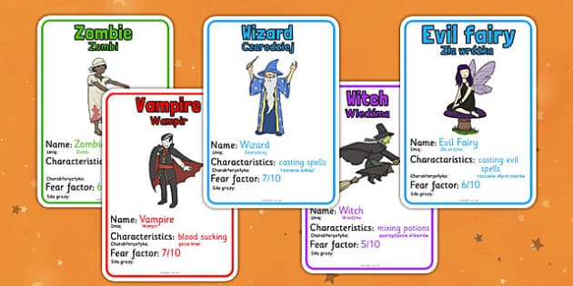Halloween Monster Top Card Game Polish Translate - polish, halloween, hallowe'en, monster, top trumps