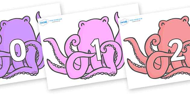 Numbers 0-31 on Octopus to Support Teaching on The Rainbow Fish - 0-31, foundation stage numeracy, Number recognition, Number flashcards, counting, number frieze, Display numbers, number posters