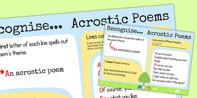 Recognise Some Different Forms of Poetry Acrostics Poster