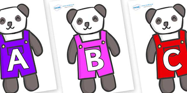 A-Z Alphabet on Panda Bears - A-Z, A4, display, Alphabet frieze, Display letters, Letter posters, A-Z letters, Alphabet flashcards