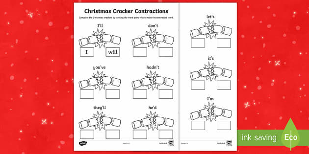 Christmas Cracker Contractions Activity Sheet - Christmas, crackers, contractions, root words, worksheet