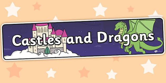 Castles and Dragons Themed Banner - banner, display