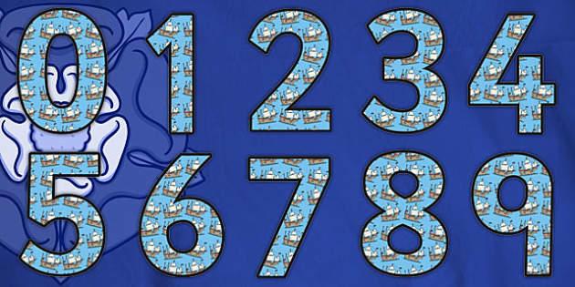 Tudor Ship Themed Display Numbers - display numbers, tudor, ship