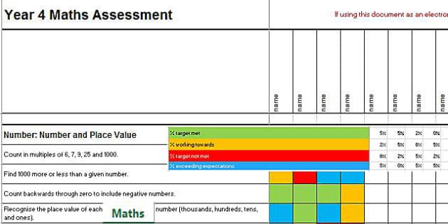 2014 Curriculum Year 4 Maths Assessment Spreadsheet - numeracy