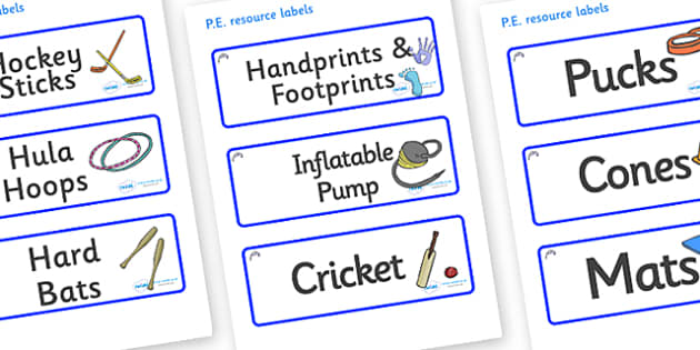 Bluebells Themed Editable PE Resource Labels - Themed PE label, PE equipment, PE, physical education, PE cupboard, PE, physical development, quoits, cones, bats, balls, Resource Label, Editable Labels, KS1 Labels, Foundation Labels, Foundation Stage