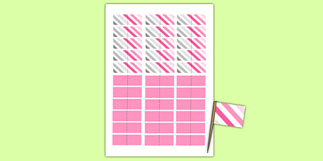 Baby Shower Toothpick Flags Pink Themed - baby shower, baby, shower, newborn, pregnancy, new parents, toothpick flags