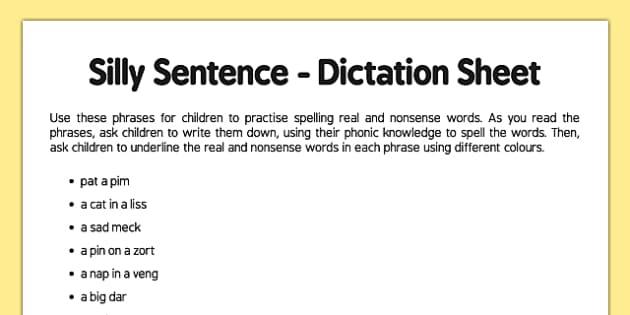 Silly Sentence Teacher Dictation Sheet - silly sentence, teacher, dictation, sheet
