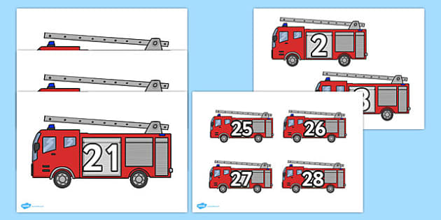 Numbers on Fire Engines Pack - numbers, fire engines, fire, engine, pack