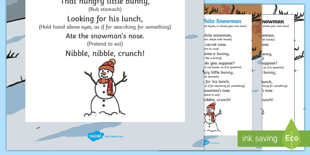 A Little White Snowman Action Rhyme - little white snowman, action, rhyme, little, white, snowman