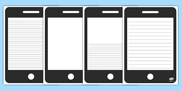 Phone Template Writing Frame - phone, template, writing frame