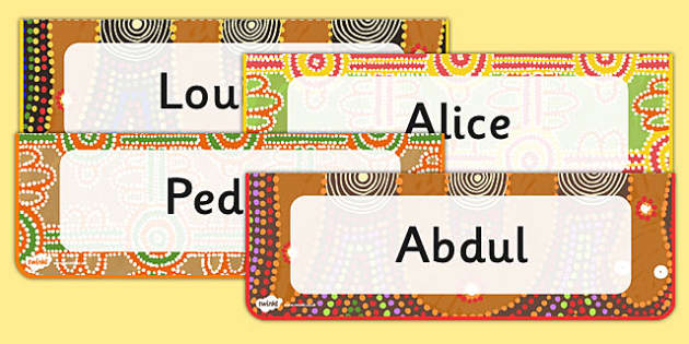 Editable Aboriginal Style Border Desk Labels - aboriginal, label
