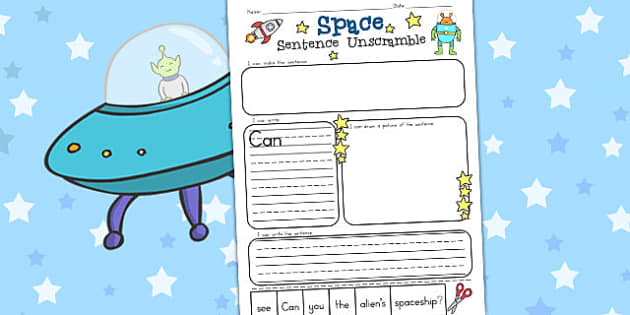Space Sentence Unscramble Worksheets - Worksheet, Sentences