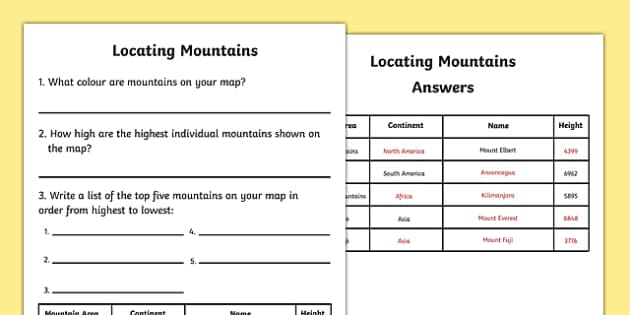 Locating Mountains Worksheet - mountains, mountains worksheet, mountains on maps, mountain research worksheet, ks2 mountains, ks2 geography, maps ks2
