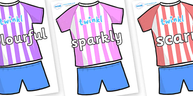 Wow Words on Football Strip - Wow words, adjectives, VCOP, describing, Wow, display, poster, wow display, tasty, scary, ugly, beautiful, colourful sharp, bouncy