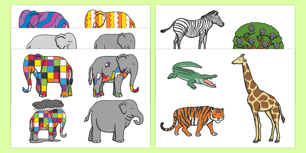 Story Cut Outs to Support Teaching on Elmer - Elmer, Elmer the elephant, resources, Elmer story, patchwork elephant, PSHE, PSE, David McKee, colours, patterns, story, story book, story book resources, story sequencing, story resources