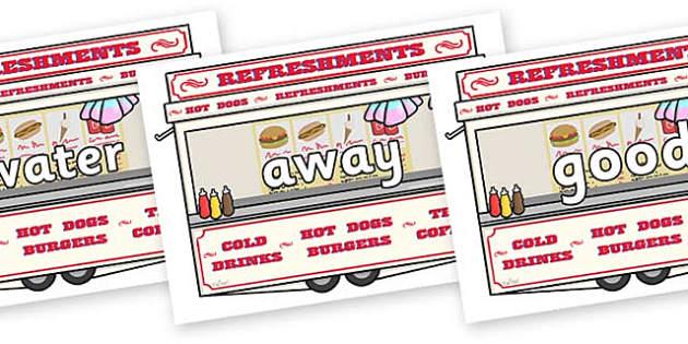 Next 200 Common Words on Fairground Food Vans - Next 200 Common Words on  - DfES Letters and Sounds, Letters and Sounds, Letters and sounds words, Common words, 200 common words