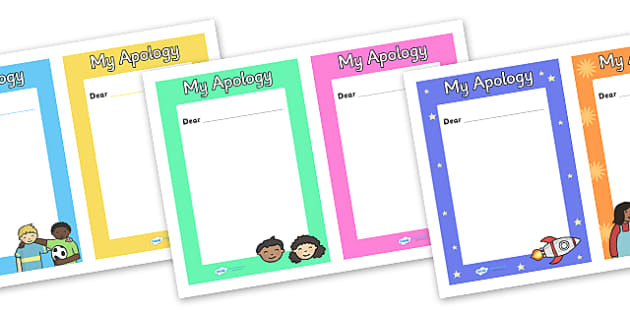 My Apology Letter Writing Frames - my apology, an apology, apology letter, apology letter writing frames, Im sorry, I am sorry, apologising, page borders, writing templates, writing aids, fill in, colourful, writing letters, how to write an apology l