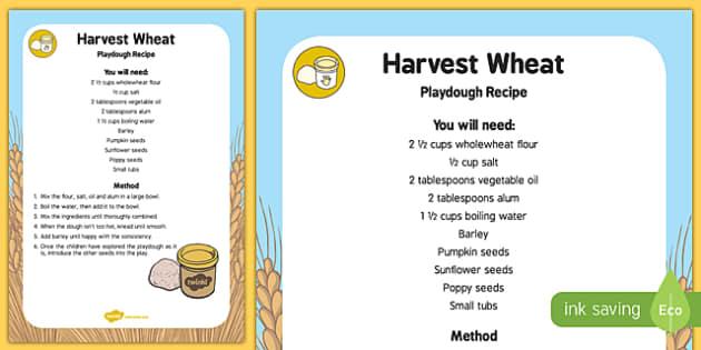 Harvest Wheat Playdough Recipe - modelling, recipe, instructions, play,