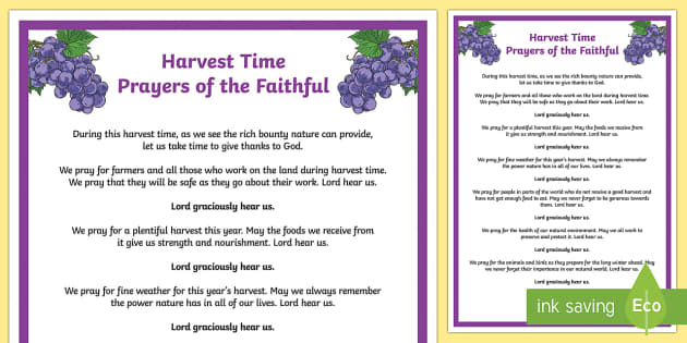 Harvest Time Prayers of the Faithful Print-Out