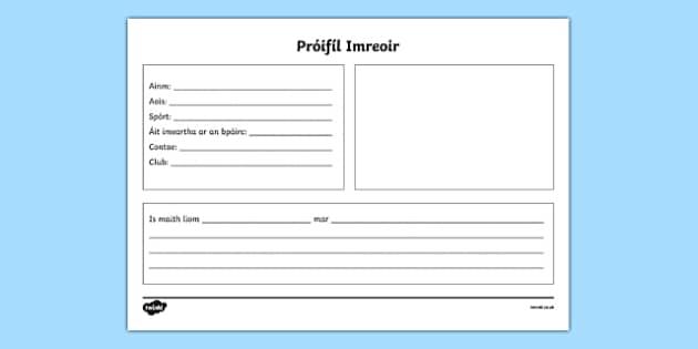 Gaa Player Profile Irish Gaeilge - gaa, hurling, irish, ireland, player, profile, factfile, gaeilge, writing, display
