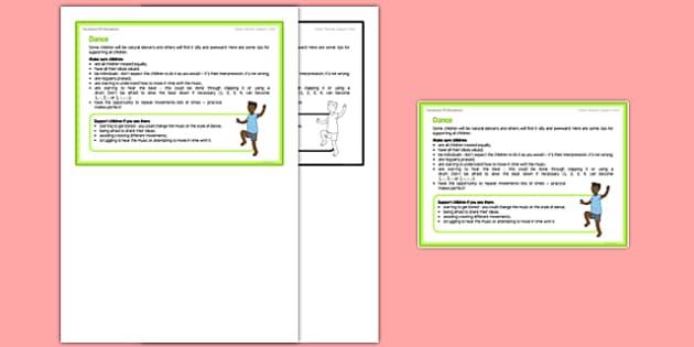 Foundation PE (Reception) - Dance Teacher Support Card - EYFS, PE, Physical Development, dance