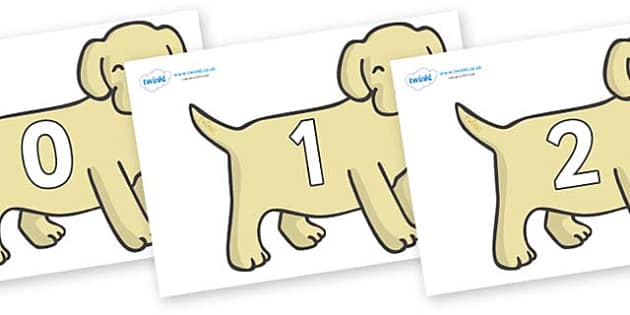 Numbers 0-100 on Puppies - 0-100, foundation stage numeracy, Number recognition, Number flashcards, counting, number frieze, Display numbers, number posters