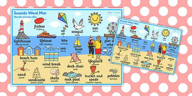 Seaside Themed Scene Word Mat Polish Translation - polish, seaside