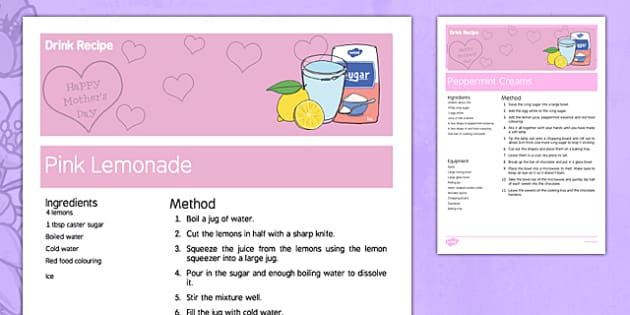 Mother's Day Pink Lemonade Recipe - australia, Mother's Day, cooking, recipes, procedure, food, drink, lemonade, reading