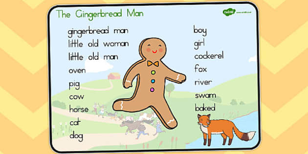 The Gingerbread Man Word Mat Text - australia, traditional tales, story, fairy, tale, gingerbead, biscuit, catch