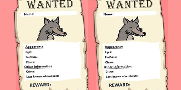 Little Red Riding Hood Wolf Wanted Posters - wanted poster, wolf