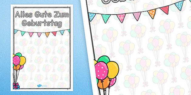 German Happy Birthday Posters 2xA4 - german, posters, display