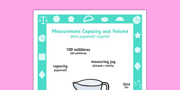 Year 1 Measurement, Capacity and Volume Poster Polish Translation - year 1, yr1, ks1, measure, ssm, capacity, volume, measurement, display, maths, visual aid, polish, poland, eal