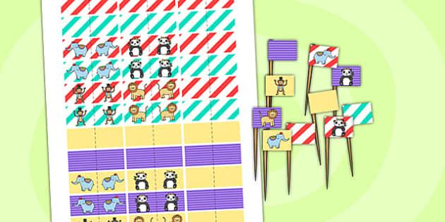 Animal Themed Birthday Party Toothpick Flags - birthdays, parties
