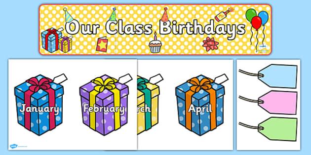 Editable Birthday Display Set (Presents) - Birthday set, birthday display, banner, birthday, birthday poster, birthday display, months of the year, cake, balloons, happy birthday